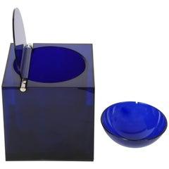 Cube Acrylic Ice bucket Studio Opi Blue, Di Cini & Nils, Milan, Italy, 1970s