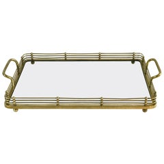 Viennese Secessionist Brass and Glass Gallery Tray