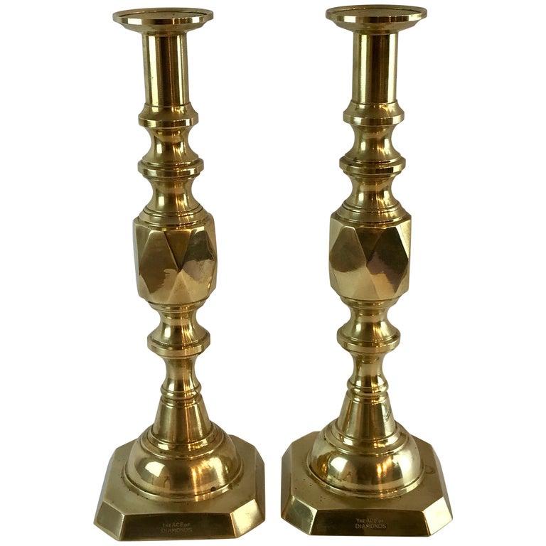 "Pair of ""Ace of Diamonds"" Beehive Brass Candlesticks"