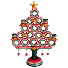 "Christmas Tree ""Arbol De La Vida"" Folk Art Mexico Tree of Life Clay Candelabra"