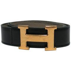 Hermès Black and Gold Leather Belt