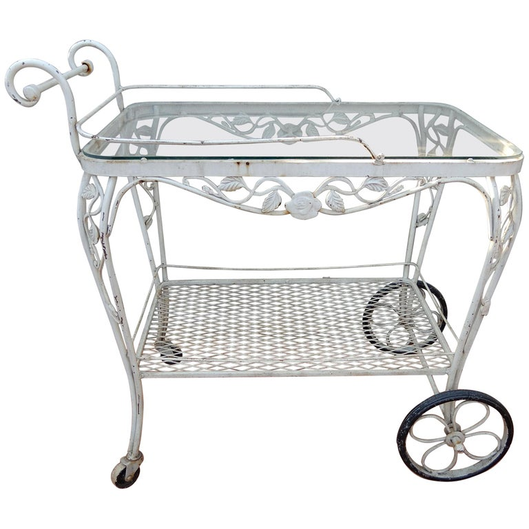 Vintage Bar Or Tea Cart Woodard Chantilly Rose Pattern Single Spun Fiberglass Patio Dining Side Chair