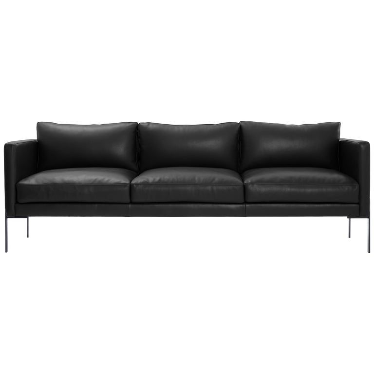 Truss Sofa in Liquorice Leather and Powder-Coated Steel by TRNK