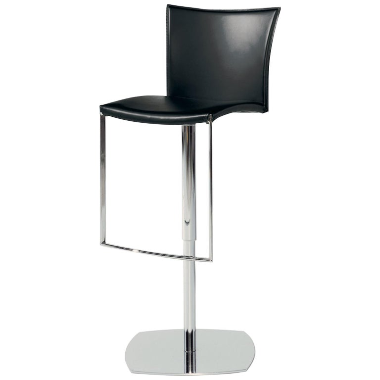 Nobile 2079 Stool In Black Leather With Chrome Finish By