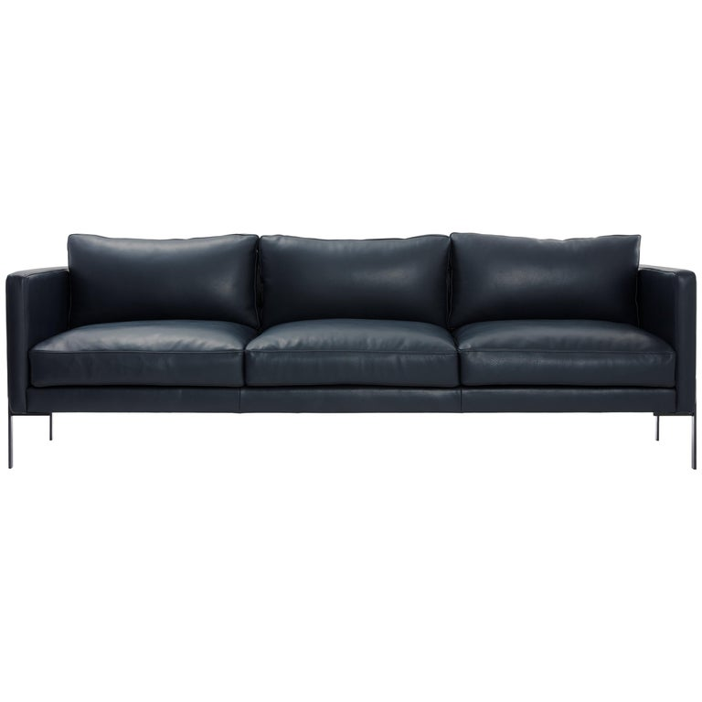 Truss Sofa in Midnight Leather and Powder-Coated Steel by TRNK