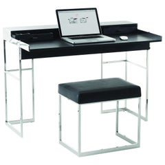 Magic Desk in Black Leather and Polished Steel by André Schelbach