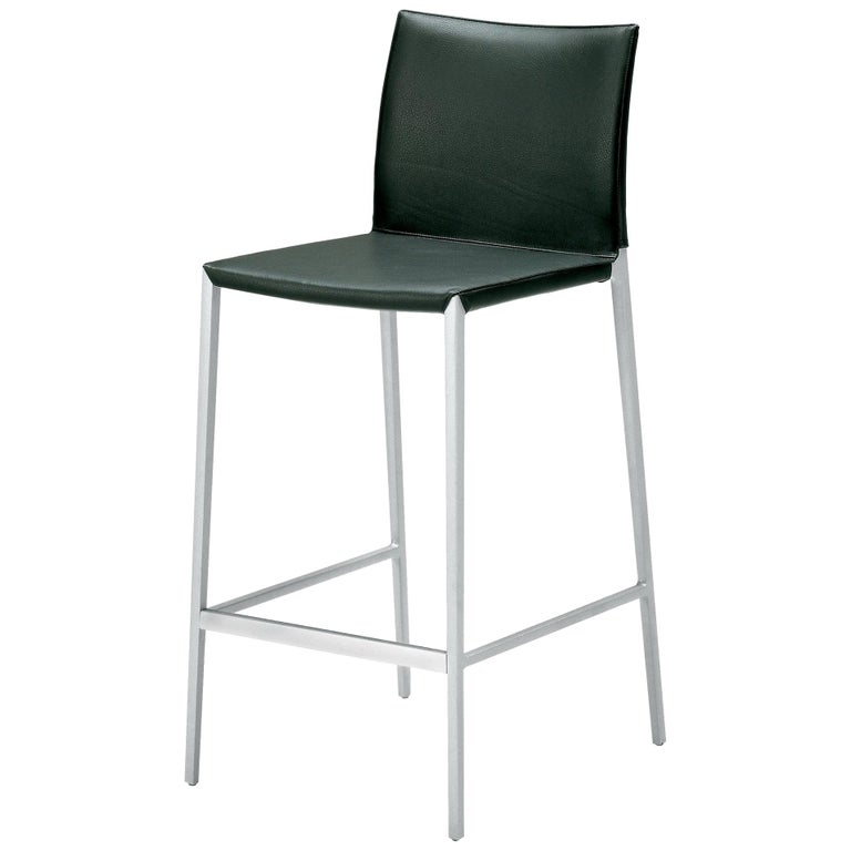 Lio Low Stool in Black Leather by Roberto Barbieri
