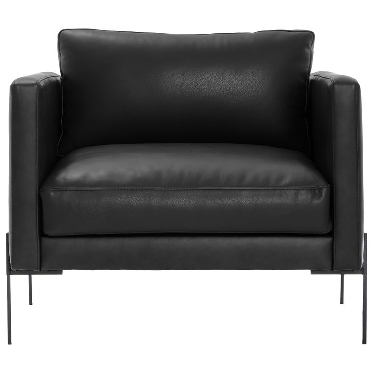 Truss Armchair in Liquorice Leather & Powder-Coated Steel by TRNK