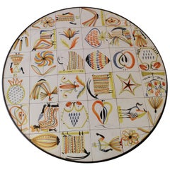 Rare Painted Ceramic Tiles Coffee Table by Roger Capron, Vallauris, circa 1960