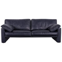 Erpo CL 300 Leather Sofa Deep-Blue Three-Seat Couch