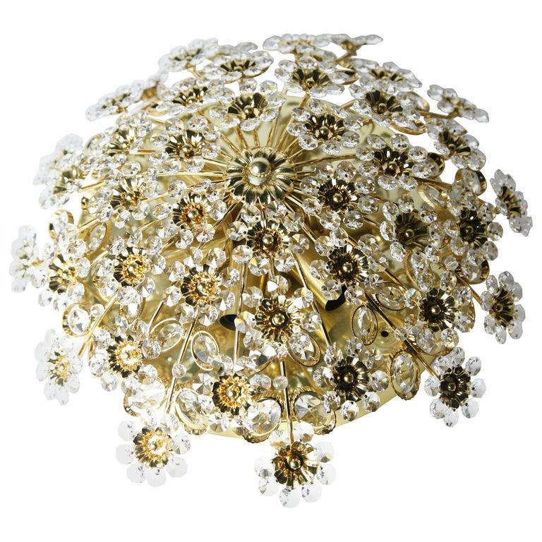Palwa Flush Mount with Swarovski Crystals, Germany, 1960s