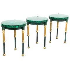 Set of Three Malachite Marquetry Side Tables, France, 1940