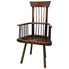 19th Century Welsh Primitive Ash and Elm Comb Back Armchair with Good Patina