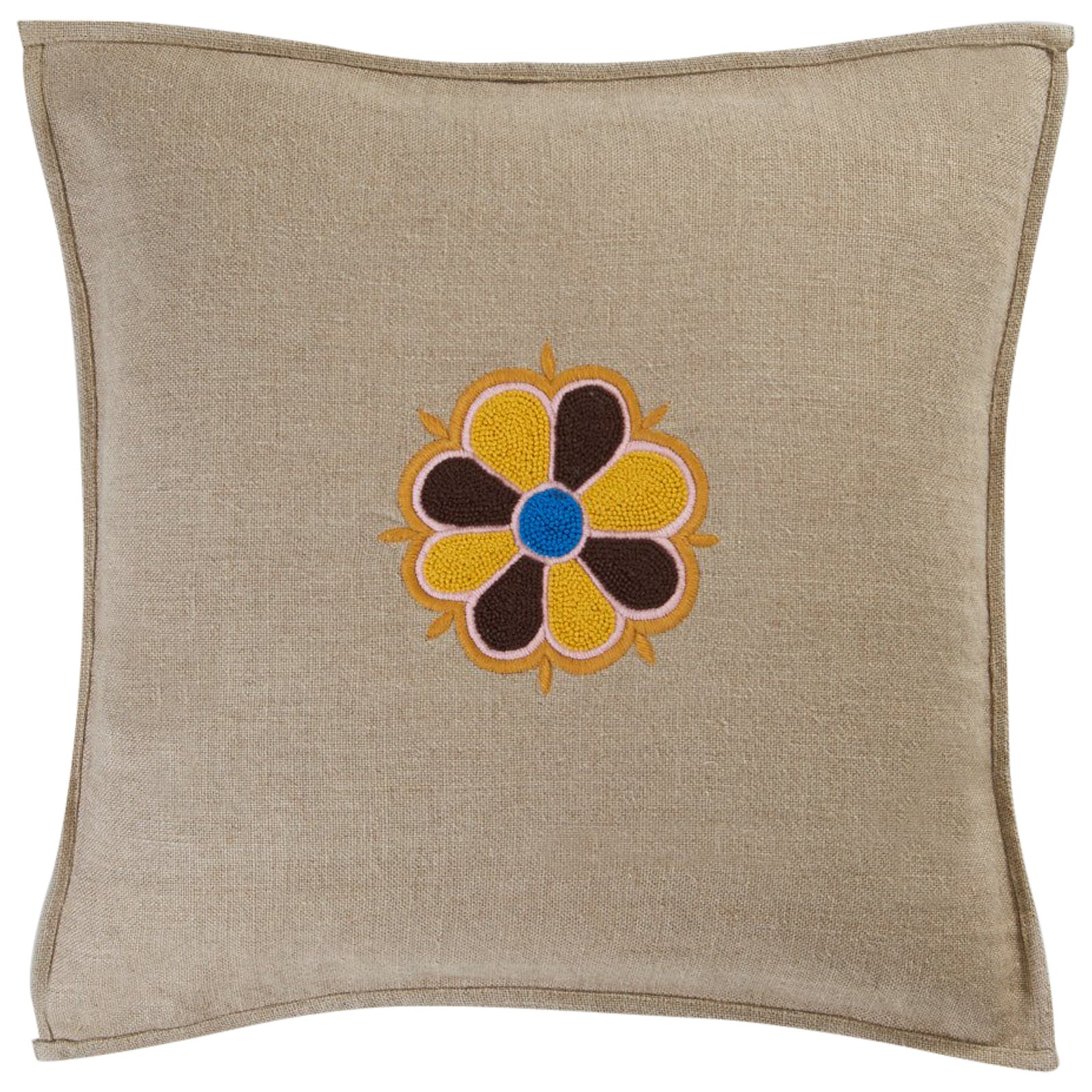 Arvest Single Hand Embroidered Beige Linen Pillow Cover