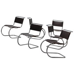 Six Mies Van De Rohe MR10 chairs in brown leather by Thonet 1960