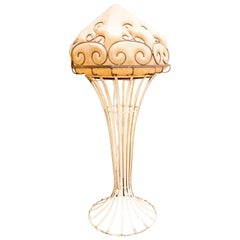 Art Nouveau French Table Lamp En Glass and Wrought Iron