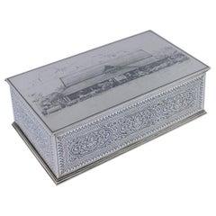 20th Century Thai Solid Silver Niello Enamel Cigar Box, Bangkok, circa 1930