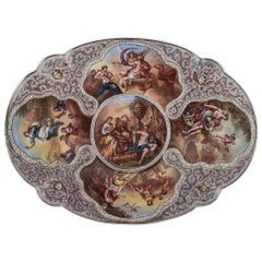 19th Century Austrian Solid Silver and Hand-Painted Enamel Dish, circa 1890