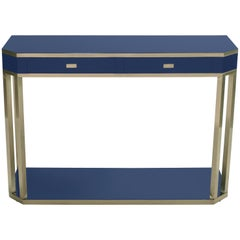 J.C. Mahey Blue Lacquer and Brass Console, 1970s