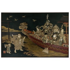 Antique 19th Century Japanese Monumental Shibayama and Lacquer Wall Plaque