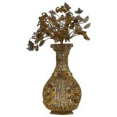 Antique Rare Chinese Silver Gilt Filigree and Gem Set Vase, circa 1760
