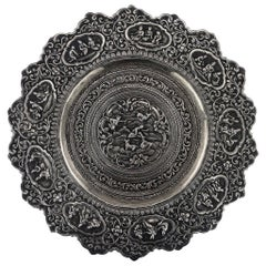 Antique 20th Century Burmese Solid Silver Handcrafted Dish, circa 1900