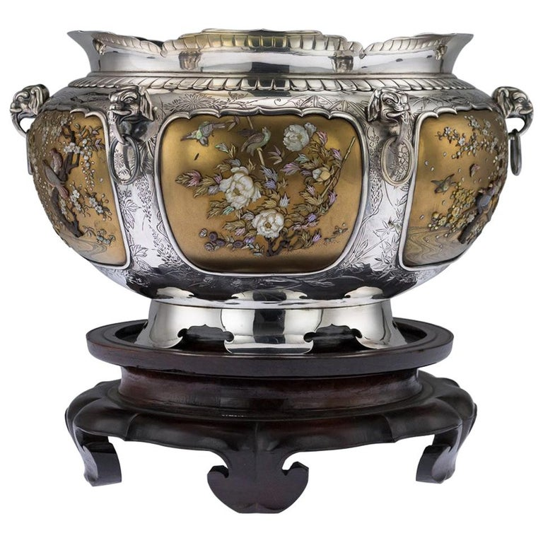 Antique Japanese Magnificent Shibayama Solid Silver Bowl, circa 1890