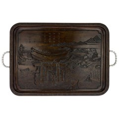 Antique Chinese Export Solid Silver and Carved Rosewood Tray, circa 1900