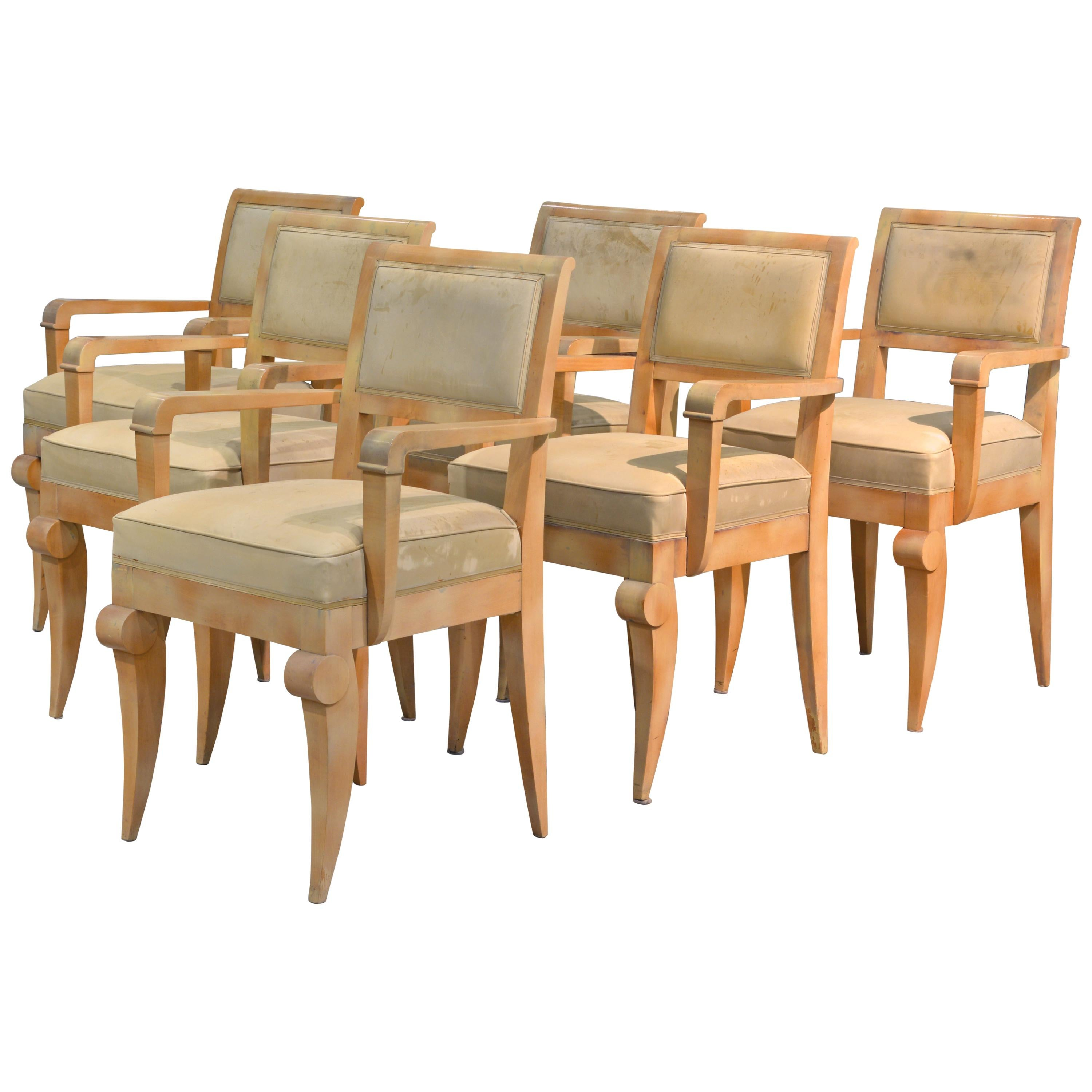 Group Of Six French Art Deco Dining Armchairs In The Manner Of Andre Arbus