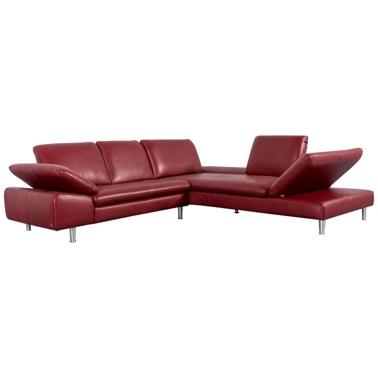 Willi Schillig Loop Leather Corner-Sofa Red Couch For Sale