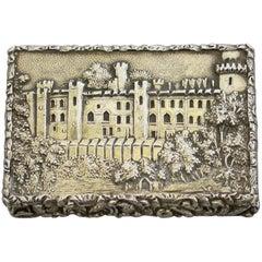 Early Victorian Silver Gilt Castle-Top Vinaigrette 'Warwick Castle' N Mills 1838