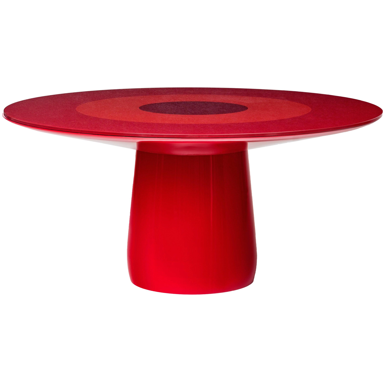 Baleri Italia Roundel Table with Red Lacquer & Glass Top, Claesson Koivisto Rune