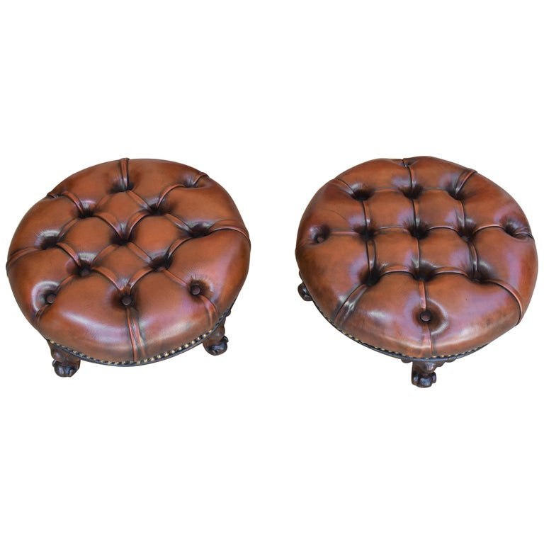 Pair of 19th Century Victorian Walnut Leather Footstools