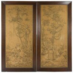 Pair of Framed Wall Tapestry, Gobelins, Oak Frame