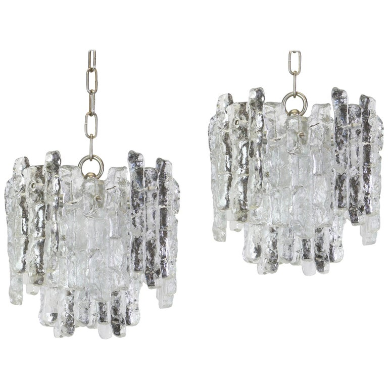 Pair of Murano Ice Glass Pendants by Kalmar, Austria, 1960s