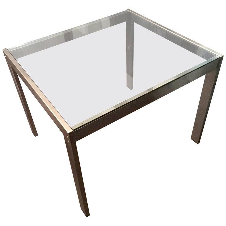 Midcentury Italian Modern Design Brushed Steel Clear Crystal Rectangular Desk