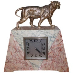 French Art Deco Marble Mantle Clock