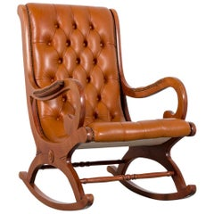 Chesterfield Leather Rocking Chair Brown Cognac One-Seat Vintage Retro