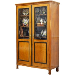 19th Century German Fruitwood and Ebonized Biedermeier Two-Door Book Case