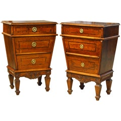 Pair of Italian Turn of the Century Tapering Three-Drawer Walnut Commodes