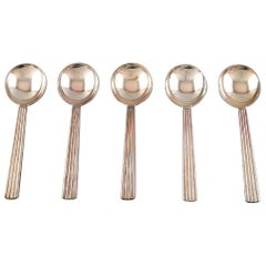Bernadotte Silverware Georg Jensen Bouillon Spoon, Five Spoons in Stock
