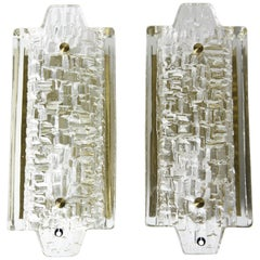 Pair of Orrefors Sconces Brass and Crystal glass shades by Orrefors,Sweden 1970