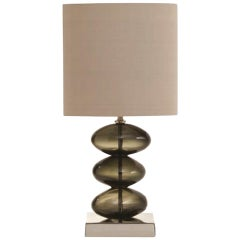 Contemporary Brown Color Blown Glass Pure Natural Silk Lampshade Table Lamp
