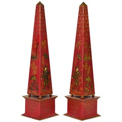 Pair of Tall Vintage Italian Chinoiserie Painted Tole Obelisk Models