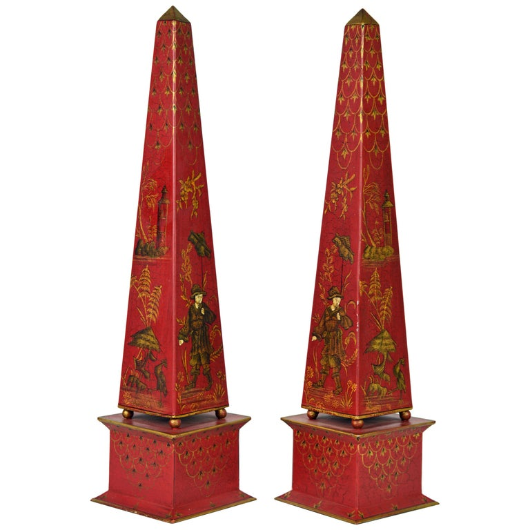 Pair of Tall Vintage Italian Chinoiserie Painted Tole Obelisk Models For Sale