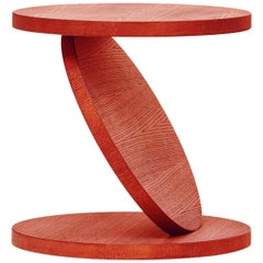 Baleri Italia Match Point Medium Coffee Table in Red Lacquer Oak by Omri Revesz