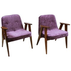 Pair of Midcentury 366 Armchairs by Jozef Chierowski 1960 Poland