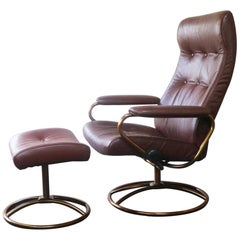Midcentury Norwegian Reclining Chair and Ottoman by Ekornes Stressless
