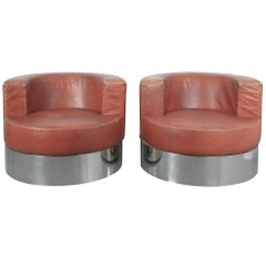 Rare Pair of Franco Fraschini Brown Leather Chairs for Driade, Italy, 1965