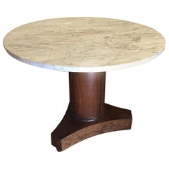 Italian Centre or Dinning Table in Walnut with Carrara Marble from 19th Century